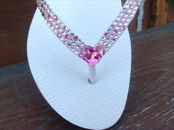 White Havaianas Slim Flip Flops Custom Wedding Confetti Pink w/ Swarovski Crystal Heart Vintage Rhinestone sandals Beach Bridal Shoes Thongs
