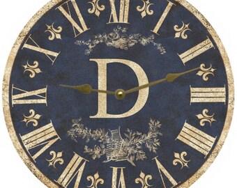 Personalized Monogram Clock- Blue Monogram Clock