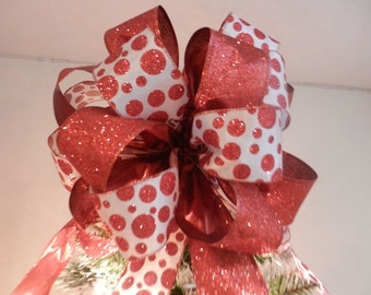 Large white with red glitter polka dots and Red glitter  Ribbons  Christmas Tree topper bow