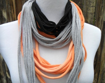 Cotton Scarf in Grey-Coral Scarf-Unique Scarf- Hand dyed-Upcycled Women's T-shirt-Necklace-Infinity Scarf-Handmade 100% Cotton Material
