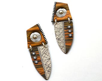 Dangle earrings big tribal sterling silver polymer clay faux wood sterling posts and clutch black white bullseye circles modern light weight