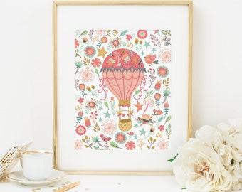 Hot Air Balloon Printable Floral Nursery Wall Art Teal and Coral Nursery Decor Girl Nursery Art Balloon Wall Art Flower Print Balloon Print