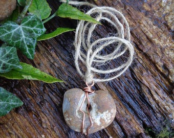 Hag Stone Talisman of protection-  Goddess Amulet -  lucky witch stone, make a wish stone. Odin, holey stone, copper wire, good luck charm