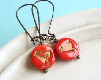 Bird Earrings - Tomato Red - Tweet