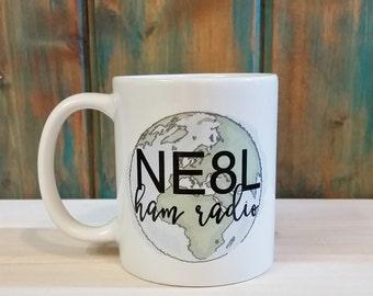 Ham radio mug, Your call sign, amateur radio, ham radio gift, coffee mug, unique mug, custom mug, personalized mug