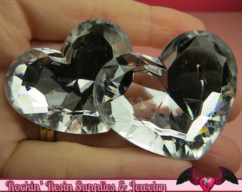 42mm HUGE HEART GEMS Clear Mirror Acrylic Faceted Rhinestones