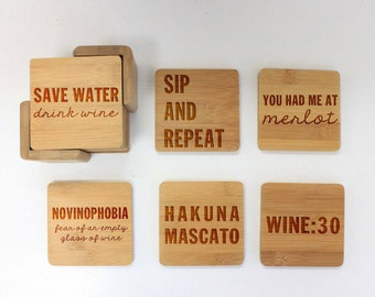 Coasters, Round or Square Coaster Set, Engraved Bamboo Wood Coasters, Wine Lover Merlot Moscato Housewarming Gift 6pc Set --22051-CST2-001