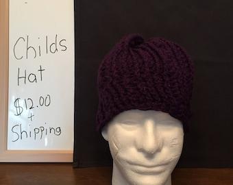 Purple hand made childs winter hat