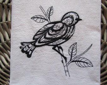 Fantasy Bird Black Work - Kitchen Flour Sack Towel - Gourmet - Natural Cotton