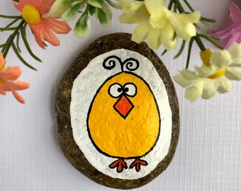 Easter Chick Painted Rock, Easter Chicken Painted Stone, Easter Basket Filler, Easter Pocket Rock, Easter gift for kids