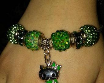 Emerald Green Hello Kittty. Charm Bracelet
