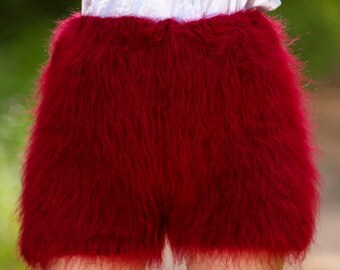 Made to order hand knit shorts, thick and fuzzy mohair short pants in red by SuperTanya