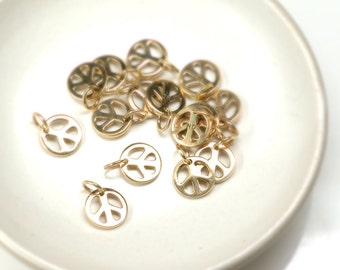 PEACE sign charm Natural Bronze shiny finish BOHO charm 9mm with jump ring - 2 pcs.