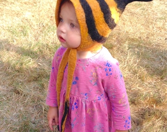Bumble Bee Hat in stripes black and gold Merino Wool for kids and small adult size