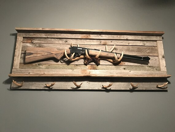 Rustic Gun Rack Gun Rack Deer Antler Antler Rack Mancave