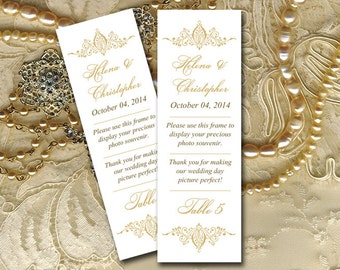 """Photo Booth Insert Place Card Template - Gold Wedding Photobooth Template """"Helena"""" - Photobooth Escort Card - Wedding Download"""