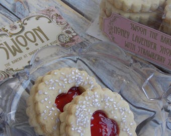 Linzer Cookies Honey Lavender Shortbread Cookies with Strawberry Jam ~ Cookie Gift Box ~ Valentine's Day Cookies ~ Wedding