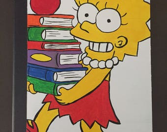 Lisa Simpson Hand Painted College Ruled Composition Blank Notebook