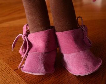 """Pink Doll Boots, Waldorf Doll Shoes - 16"""" Soft Leather Suede Doll Boots"""