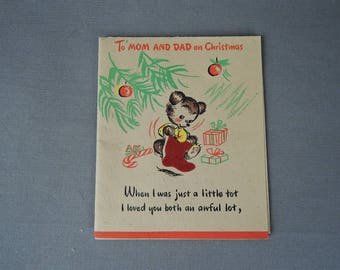 Vintage Christmas card for Mom & Dad, 1940s Teddy Bear, opens to 12 x 10 inches, Hallmark Rufftex