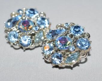 Vintage Earrings - Lisner Earrings, Blue Aurora Borealis Rhinestones, Silver-tone Metal, 1960s