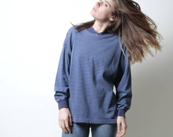 90s simple STRIPED grunge SLOUCHY silver & black shirt style long sleeve shirt