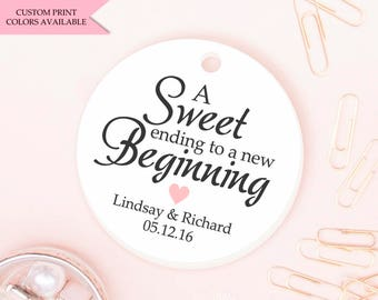 A sweet ending to a new beginning tag (30) - Wedding favor tag - Candy tags - Wedding gift tags - Wedding tags - Candy bar tags