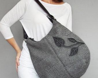 Gray leather hobo bag. Leather purse leaf decor, medium size leather purse. Leather shoulder bag.