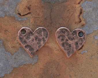 2 Antique Copper Hammered Flat Tag Mini Heart Charms  - 12mm - Nunn Designs - Low Shipping