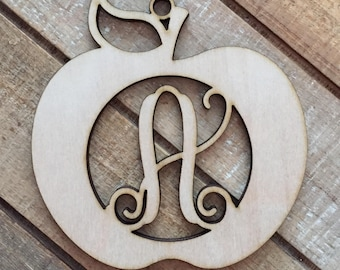 Monogram Apple Christmas Ornament - Personalized Teacher Ornament - Apple Ornament - Teacher Christmas Gift - Teacher Ornament
