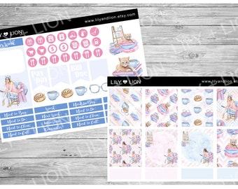 Plum Paper Planner mini kit - Pastel book lover Planner Stickers - KIT 2 SHEETS