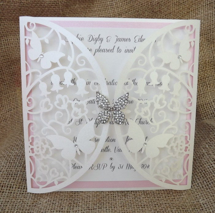 Butterfly Themed Wedding Invitations: Flutterby Laser Cut Butterfly Wedding Invitation