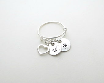 Custom Intitial Ring - Heart Charm - Couples - Kids Initial - Mothers Ring - Adjustable Ring - Personalized Jewelry - Personalized Ring