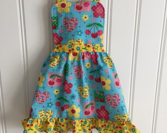 Cherry Kids Apron, Childs Apron, Kids Cooking Apron, Toddler Apron, Kitchen Apron, Little Girl Apron, Cooking School, Blue Apron