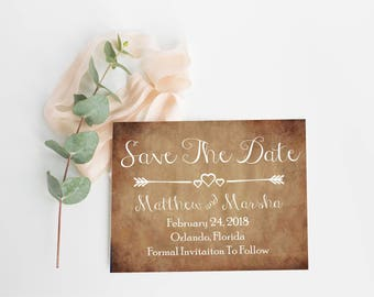 Save The Date Cards- Save The Date Template- Rustic Save The Date- Save The Date Invite- Wedding Announcement- Printable Save The Date-