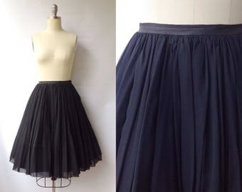 1950s Black Chiffon Party Skirt | Vintage 50s Knee Length Formal Skirt | Women's Clothing XS Extra Small 25 Waist