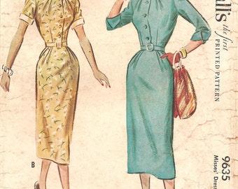1950s Shirtwaist Dress with Narrow Collar - Vintage Pattern McCalls 9635 - Bust 32 Darts at Neckline and Waist