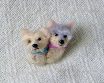 SPRING SALE Your 2 dogs as a cute Pin /Custom Needle Felted Miniature Pet Portraits /Sculpture Brooch / personalized gift/ SAVE 20