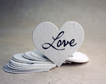 "Large Love Seed Paper Hearts 2.85""w x 2.5""h Wildflower White Cotton Shapes for Weddings or Events"