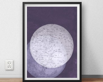 ON SALE Poster Vintage Two Moons Violet Full Moon Print Image  to Frame