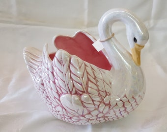 Vintage Pink and White Swan Planter