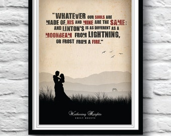 Wuthering Heights book, Emily Bronte, Movie Poster, Quote print, Literature Art, Minimalist art