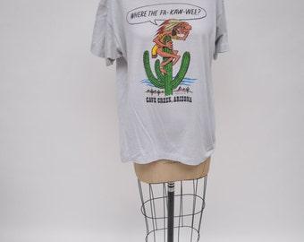 vintage t-shirt where the FA-KAW-WEE native american indian graphic cave creek arizona mine shaft oversized boyfriend fit tshirt
