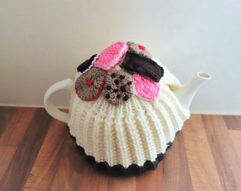 Tea and Biscuits Tea Cosy - Hand Knitted Tea Cozy - British Tea Cosy - Medium Tea Cosy  (MADE TO ORDER)