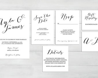 Printable Wedding Invitation Suite - Customizable Wedding Invites - DIY Wedding Invitation Set