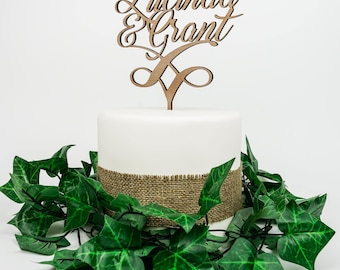Wooden Cake topper for wedding or engagement - customised. FREE Shipping AU.