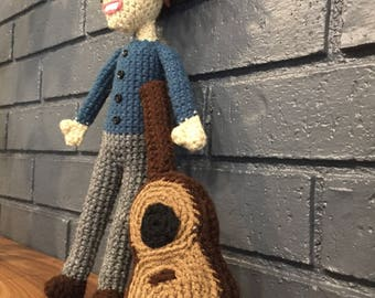 Six Inch Acoustic Guitar, Guitar Add On for Personaized Dolls, Crochet Guitar for Dolls, Acoustic Guitar Made of Yarn, Acoustic Guitar Toy