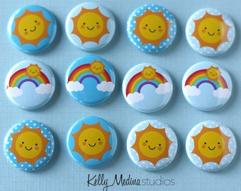 Sun Sunshine 1 inch Magnets or Pins - Set of 12 -  Button magnet - Designs By Kelly Medina Studios
