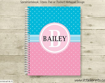 Blue & Pink Personalized Monogram Spiral Notebook Back to School Notebook
