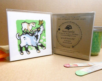 Pygmy Goats and Butterfly hand-silkscreened notecards, Boxed Set of 4
